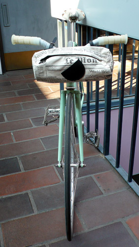 Alexandra Cassaniti Newsprint Bike Bag from oogaboogastore.com