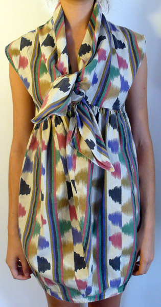 Tulip Tie-Front Dress in Ikat Print